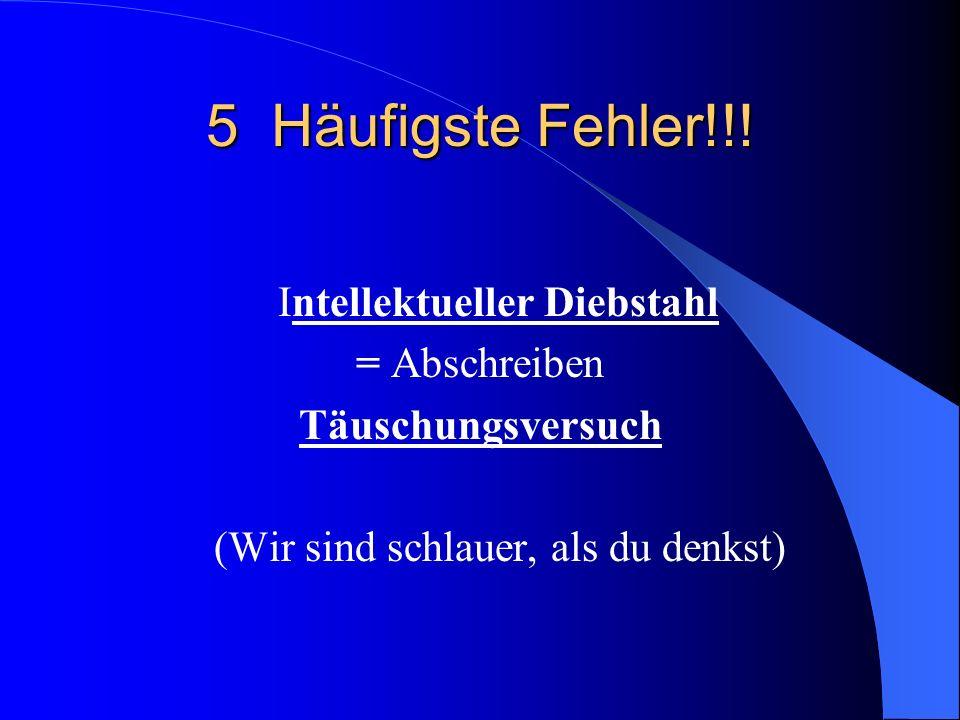 5 Häufigste Fehler!!.
