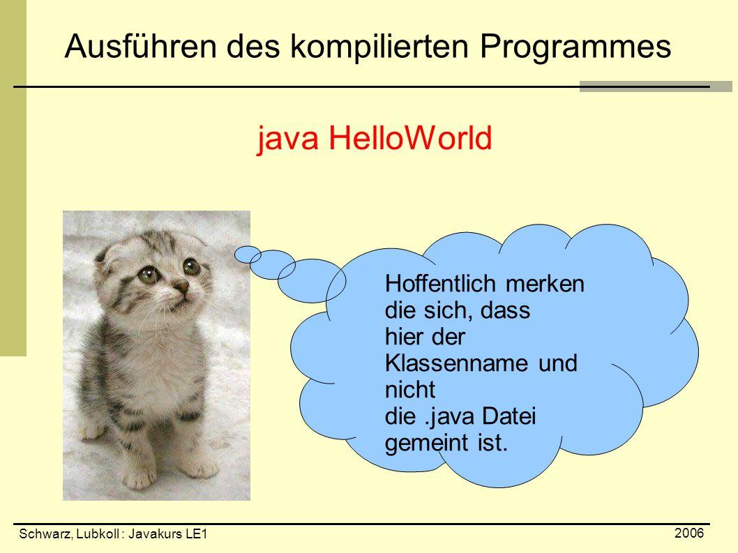 Schwarz, Lubkoll : Javakurs LE1 2006 Ausführen des kompilierten Programmes java HelloWorld Hoffentlich merken die sich, dass hier der Klassenname und