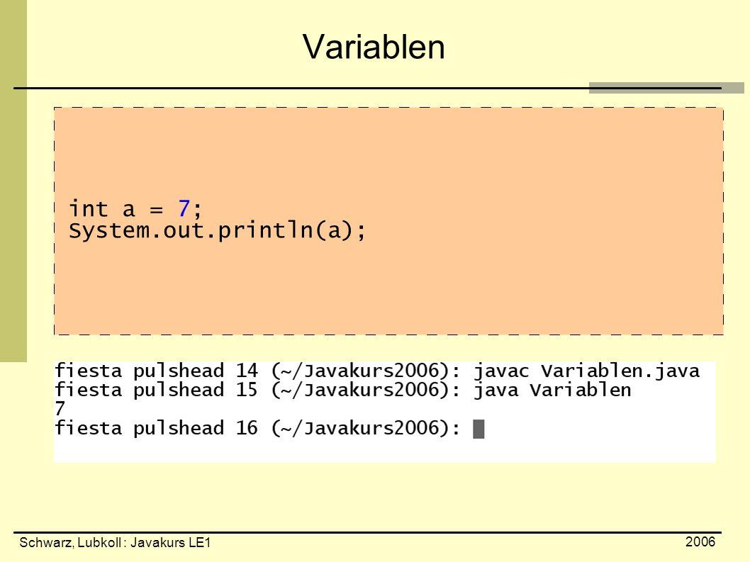 Schwarz, Lubkoll : Javakurs LE1 2006 Variablen int a = 7; System.out.println(a);