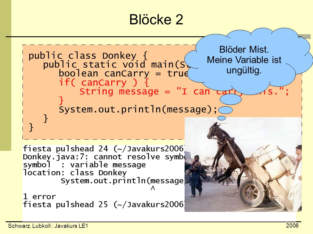 Schwarz, Lubkoll : Javakurs LE1 2006 Blöcke 2 public class Donkey { public static void main(String[] arguments){ boolean canCarry = true; if( canCarry ) { String message = I can carry this. ; } System.out.println(message); } Blöder Mist.