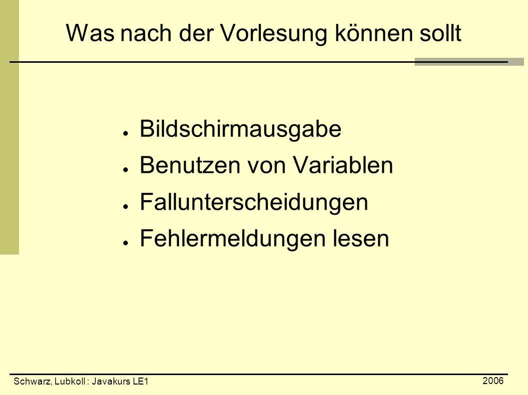 Schwarz, Lubkoll : Javakurs LE1 2006 Was nach der Vorlesung können sollt ● Bildschirmausgabe ● Benutzen von Variablen ● Fallunterscheidungen ● Fehlerm