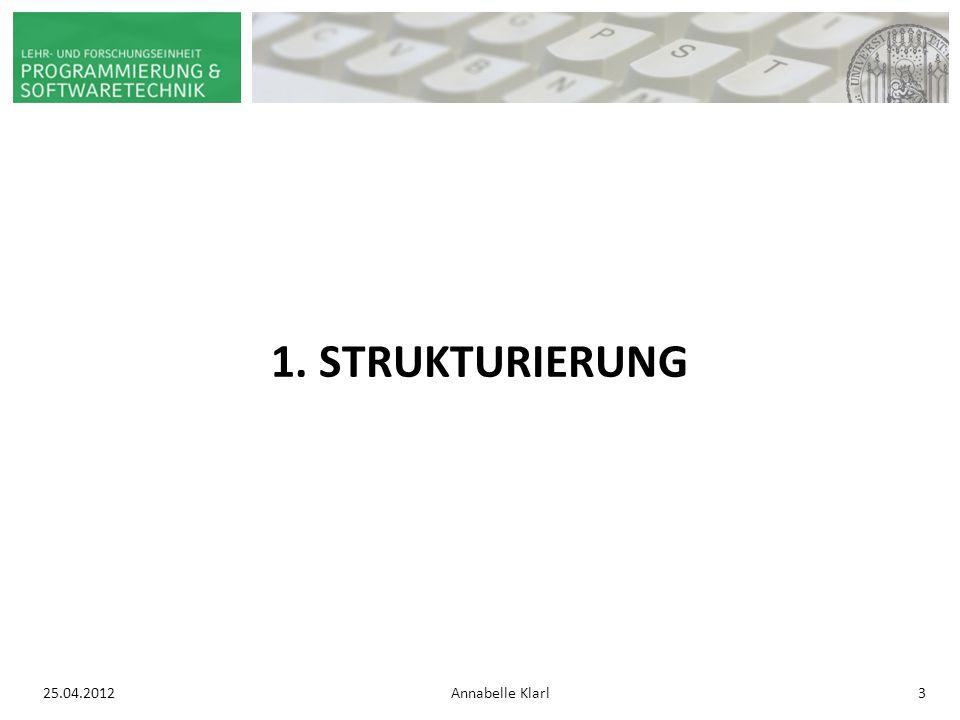 25.04.2012Annabelle Klarl4 STRUKTURIERUNG: Ebenen Erste Ebene Zweite Ebene Dritte Ebene