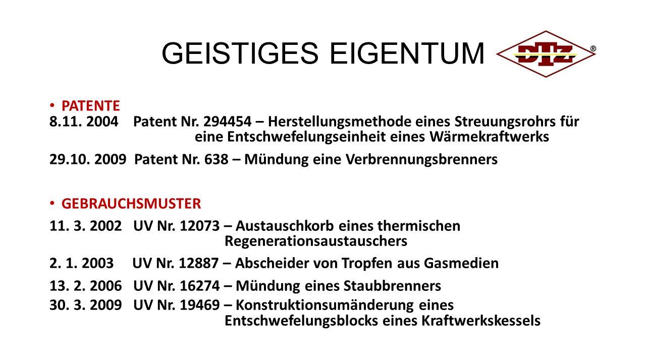 GEISTIGES EIGENTUM PATENTE 8.11. 2004 Patent Nr.