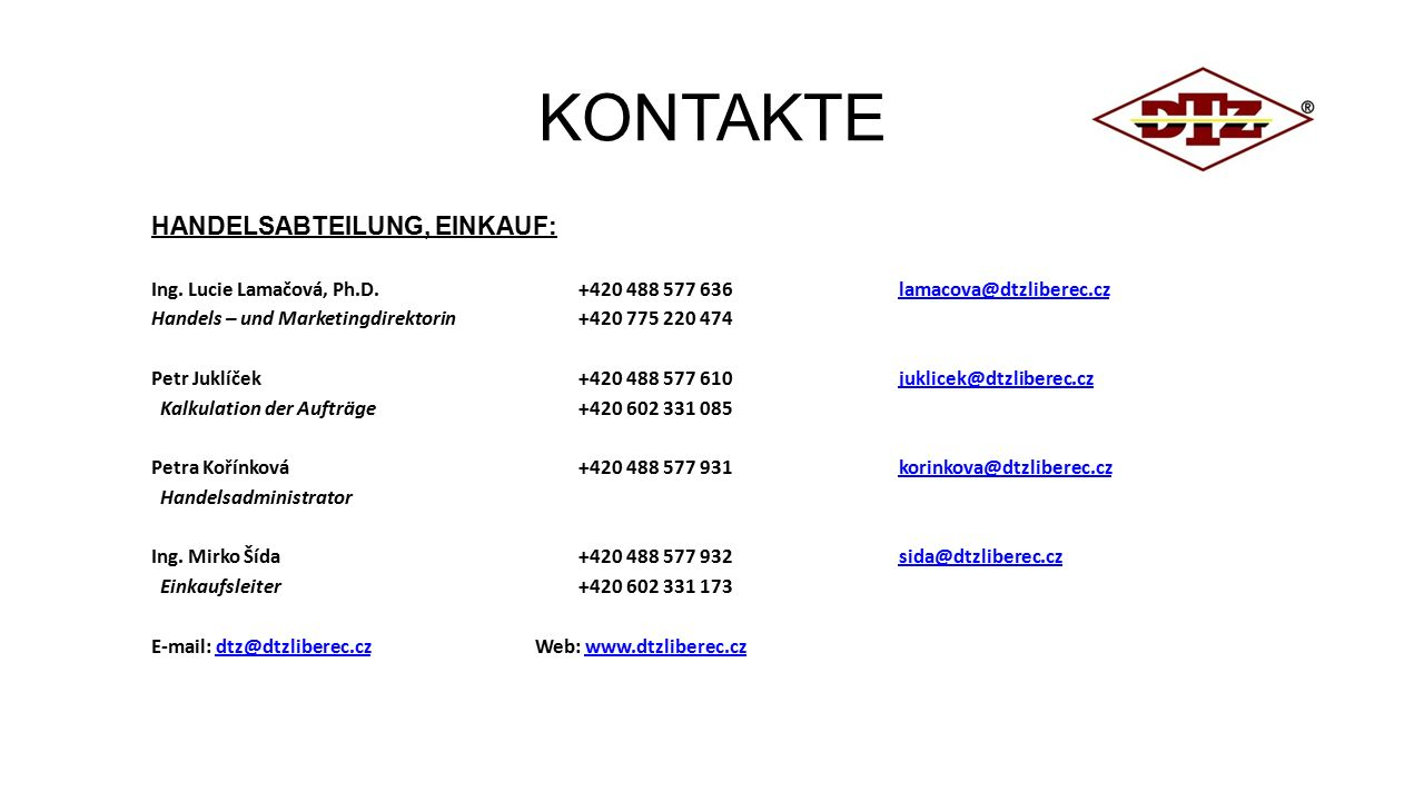 KONTAKTE HANDELSABTEILUNG, EINKAUF: Ing.