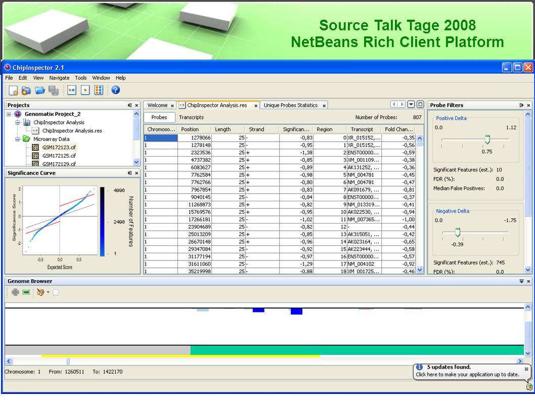 Source Talk Tage 2008 NetBeans Rich Client Platform Anwendungsbeispiele ● ChipInspector ● http://www.genomatix.de