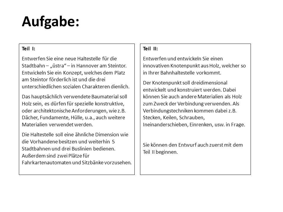 """Aufgabe: Teil I: Entwerfen Sie eine neue Haltestelle für die Stadtbahn – """"üstra"""" – in Hannover am Steintor. Entwickeln Sie ein Konzept, welches dem Pl"""