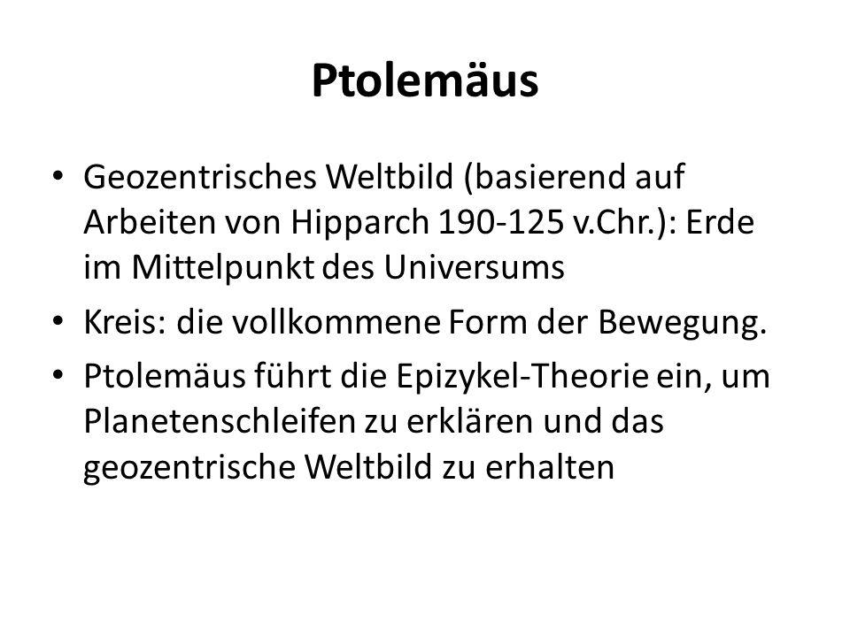 Ptolemäus Geozentrisches Weltbild (basierend auf Arbeiten von Hipparch 190-125 v.Chr.): Erde im Mittelpunkt des Universums Kreis: die vollkommene Form