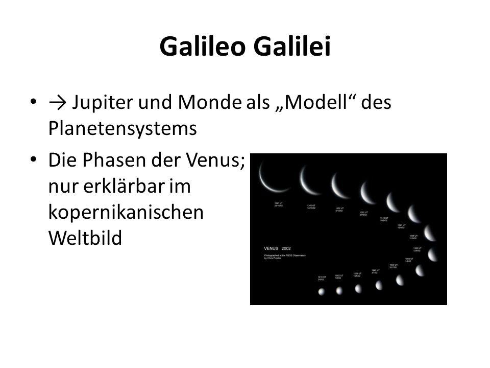 """Galileo Galilei → Jupiter und Monde als """"Modell"""" des Planetensystems Die Phasen der Venus; nur erklärbar im kopernikanischen Weltbild"""