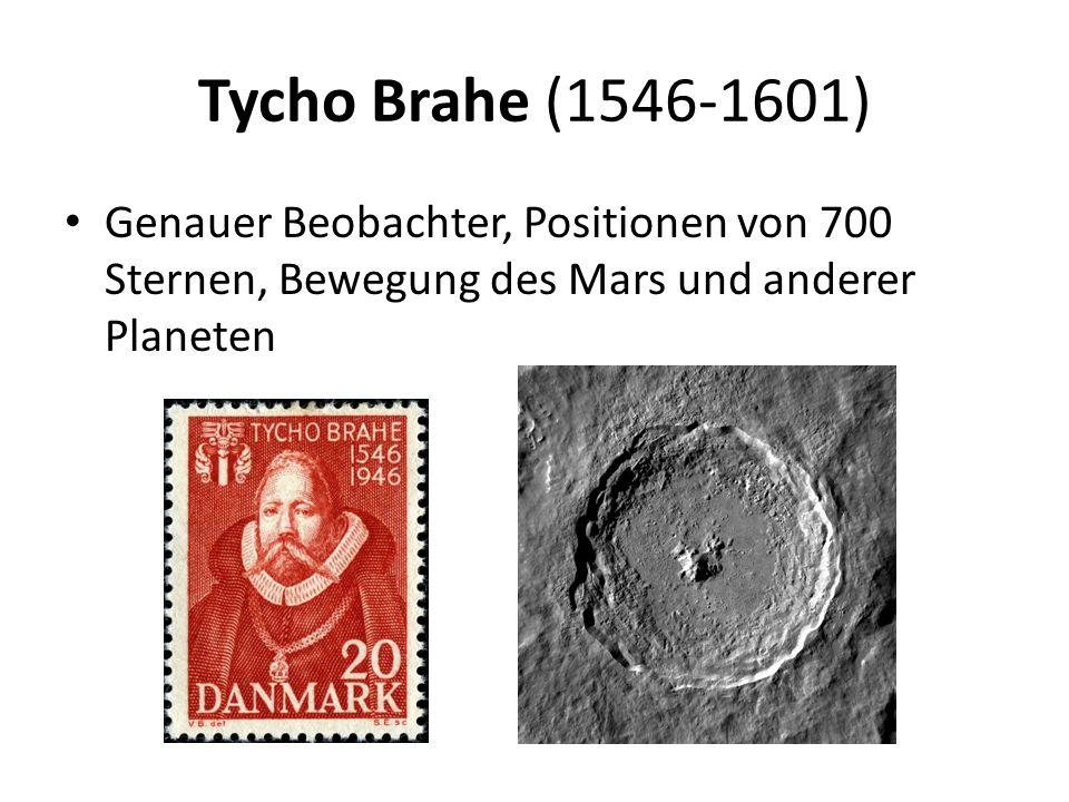 Tycho Brahe (1546-1601) Genauer Beobachter, Positionen von 700 Sternen, Bewegung des Mars und anderer Planeten