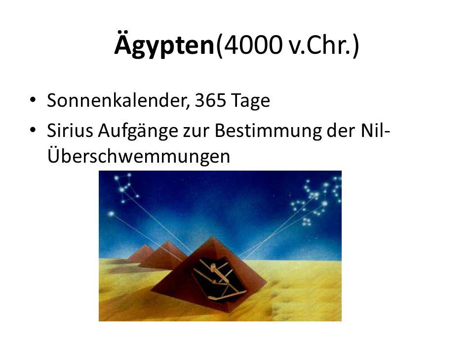 Ägypten(4000 v.Chr.) Sonnenkalender, 365 Tage Sirius Aufgänge zur Bestimmung der Nil- Überschwemmungen
