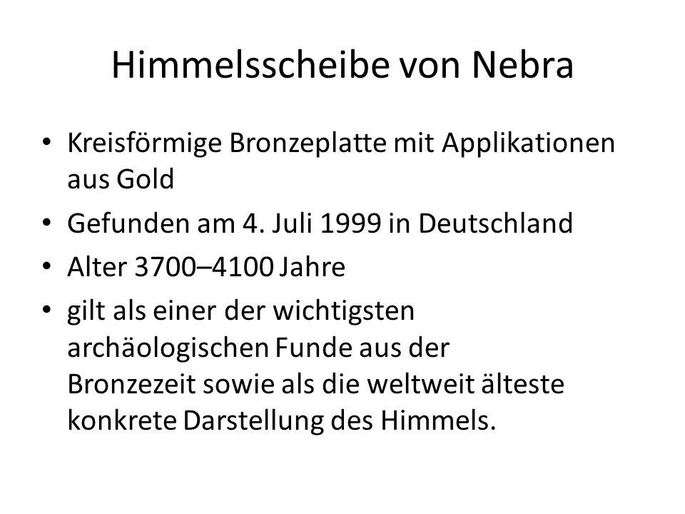 Kreisförmige Bronzeplatte mit Applikationen aus Gold Gefunden am 4. Juli 1999 in Deutschland Alter 3700–4100 Jahre gilt als einer der wichtigsten arch