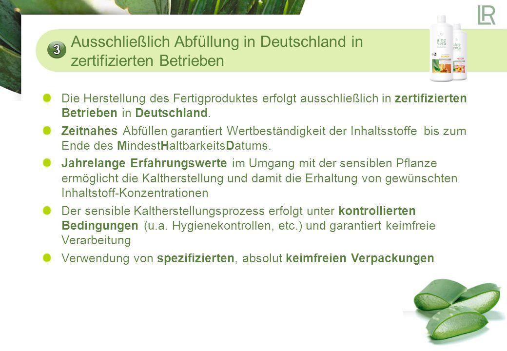 SGS Institut Fresenius: Kontrolle der Anbaugebiete, Ernte und Weiterverarbeitung von Aloe Vera aus produktionstechnischer Sicht (z.