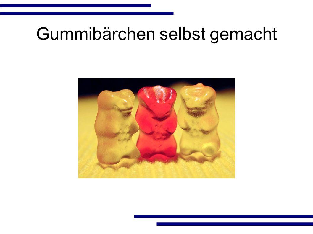 Inhalt ● Geschichte ● Herstellung der Gummibärchen – Herstellung der Gießform – Herstellung der Gießmasse – Fertigung der Gummibärchen ● Vermarktung