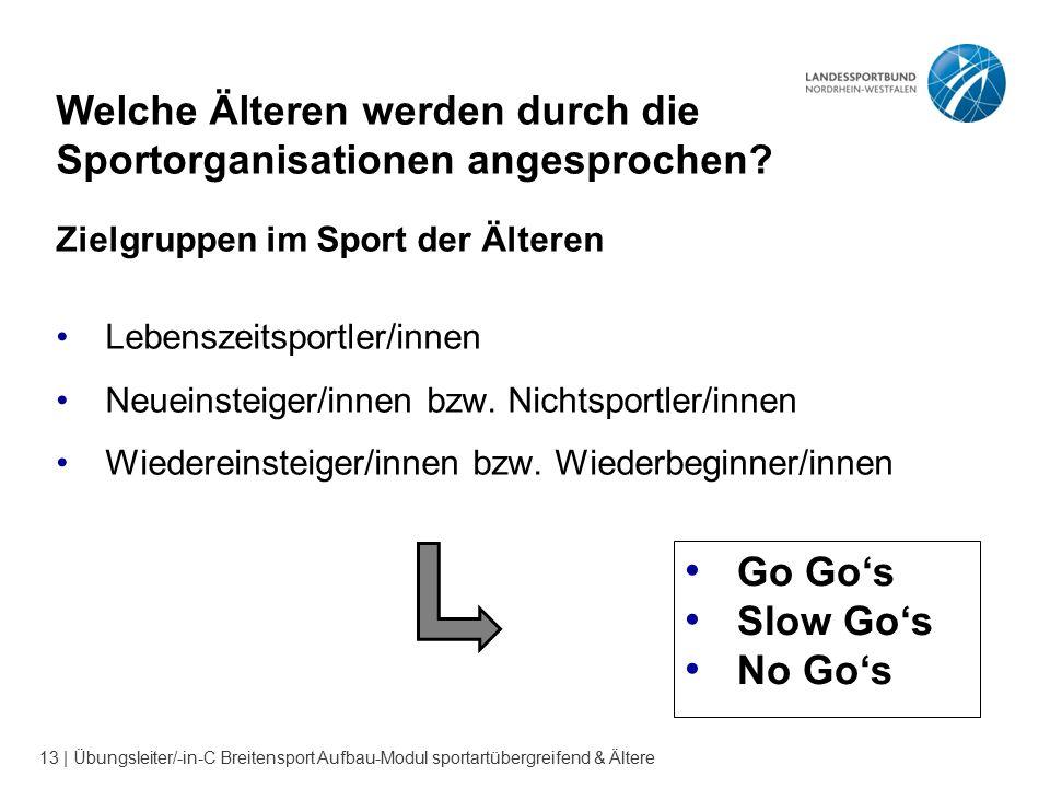 13 | Übungsleiter/-in-C Breitensport Aufbau-Modul sportartübergreifend & Ältere Welche Älteren werden durch die Sportorganisationen angesprochen? Ziel