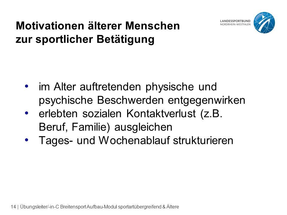 14 | Übungsleiter/-in-C Breitensport Aufbau-Modul sportartübergreifend & Ältere Motivationen älterer Menschen zur sportlicher Betätigung im Alter auft