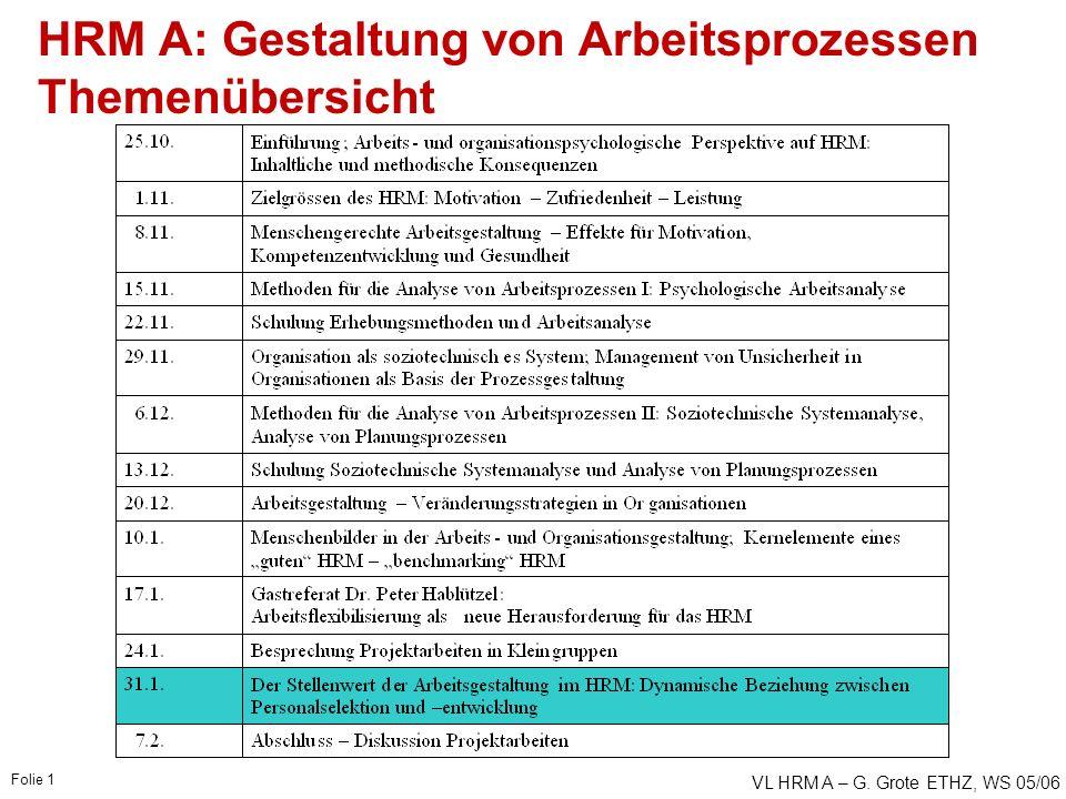 VL HRM A – G. Grote ETHZ, WS 05/06 Folie 1 HRM A: Gestaltung von Arbeitsprozessen Themenübersicht