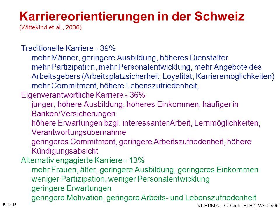VL HRM A – G. Grote ETHZ, WS 05/06 Folie 16 Karriereorientierungen in der Schweiz (Wittekind et al., 2006) Traditionelle Karriere - 39% mehr Männer, g
