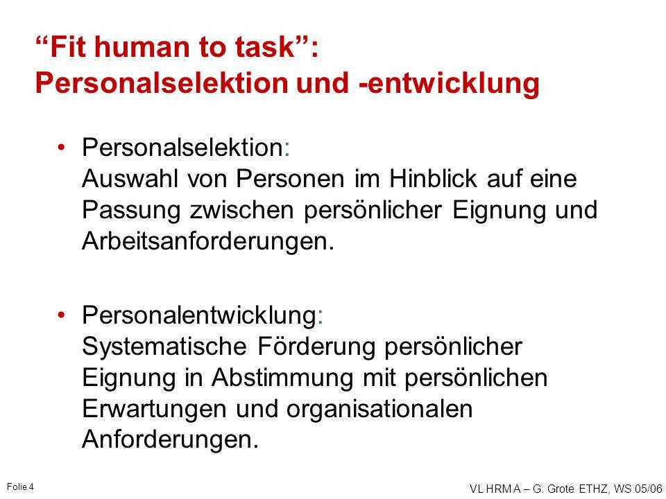 """VL HRM A – G. Grote ETHZ, WS 05/06 Folie 4 """"Fit human to task"""": Personalselektion und -entwicklung Personalselektion: Auswahl von Personen im Hinblick"""
