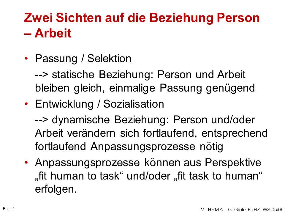 VL HRM A – G. Grote ETHZ, WS 05/06 Folie 5 Zwei Sichten auf die Beziehung Person – Arbeit Passung / Selektion --> statische Beziehung: Person und Arbe