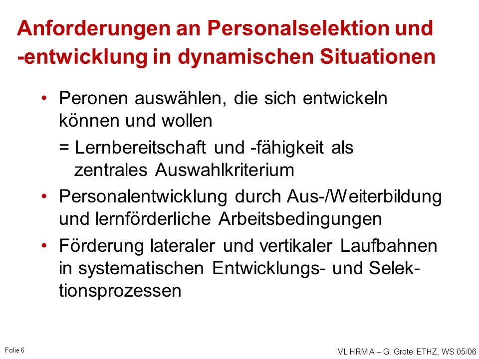VL HRM A – G. Grote ETHZ, WS 05/06 Folie 6 Anforderungen an Personalselektion und -entwicklung in dynamischen Situationen Peronen auswählen, die sich