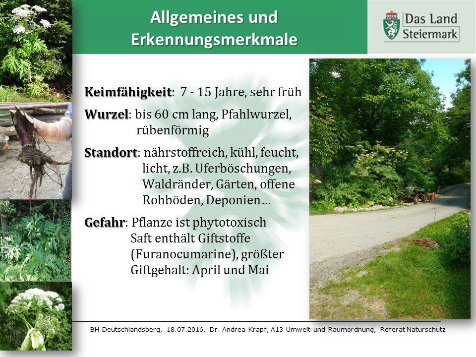 BH Deutschlandsberg, 18.07.2016, Dr. Andrea Krapf, A13 Umwelt und Raumordnung, Referat Naturschutz Allgemeines und Erkennungsmerkmale Keimfähigkeit Ke