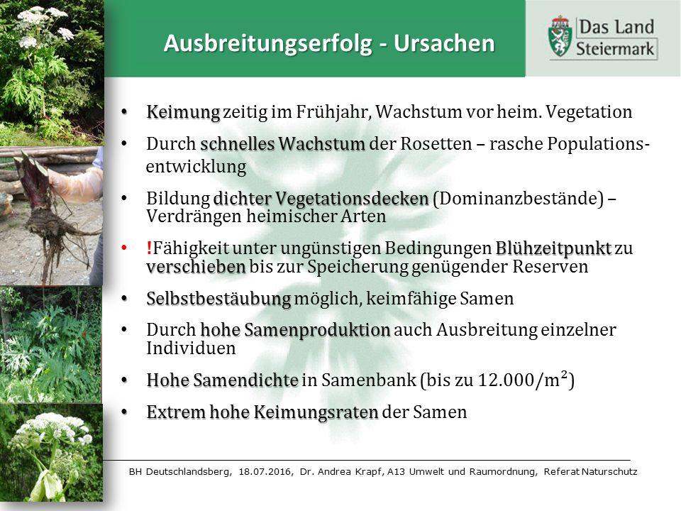 BH Deutschlandsberg, 18.07.2016, Dr. Andrea Krapf, A13 Umwelt und Raumordnung, Referat Naturschutz Ausbreitungserfolg - Ursachen Keimung Keimung zeiti
