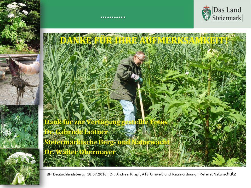 BH Deutschlandsberg, 18.07.2016, Dr. Andrea Krapf, A13 Umwelt und Raumordnung, Referat Natursc hutz ……….. DANKE FÜR IHRE AUFMERKSAMKEIT! Dank für zur