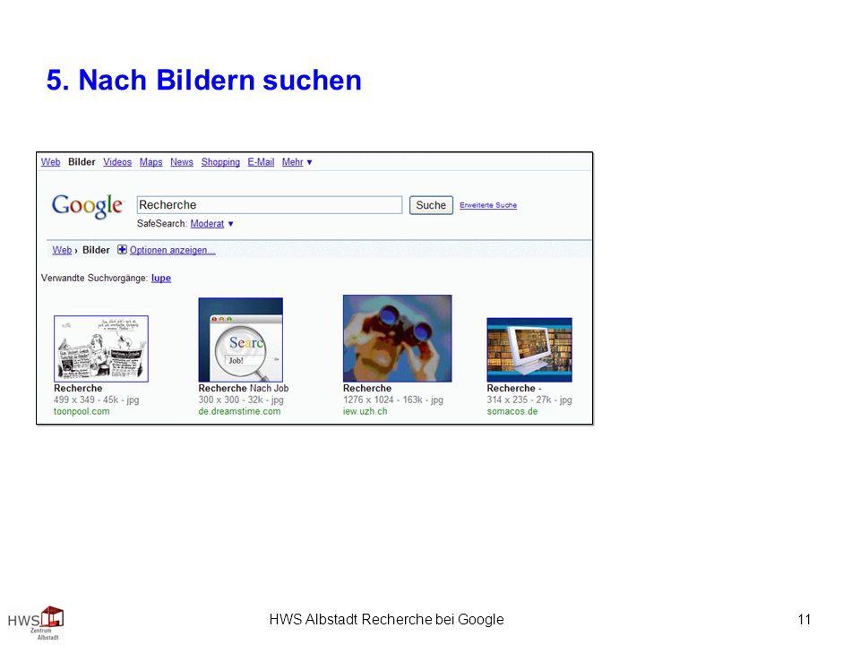 HWS Albstadt Recherche bei Google 11 5. Nach Bildern suchen
