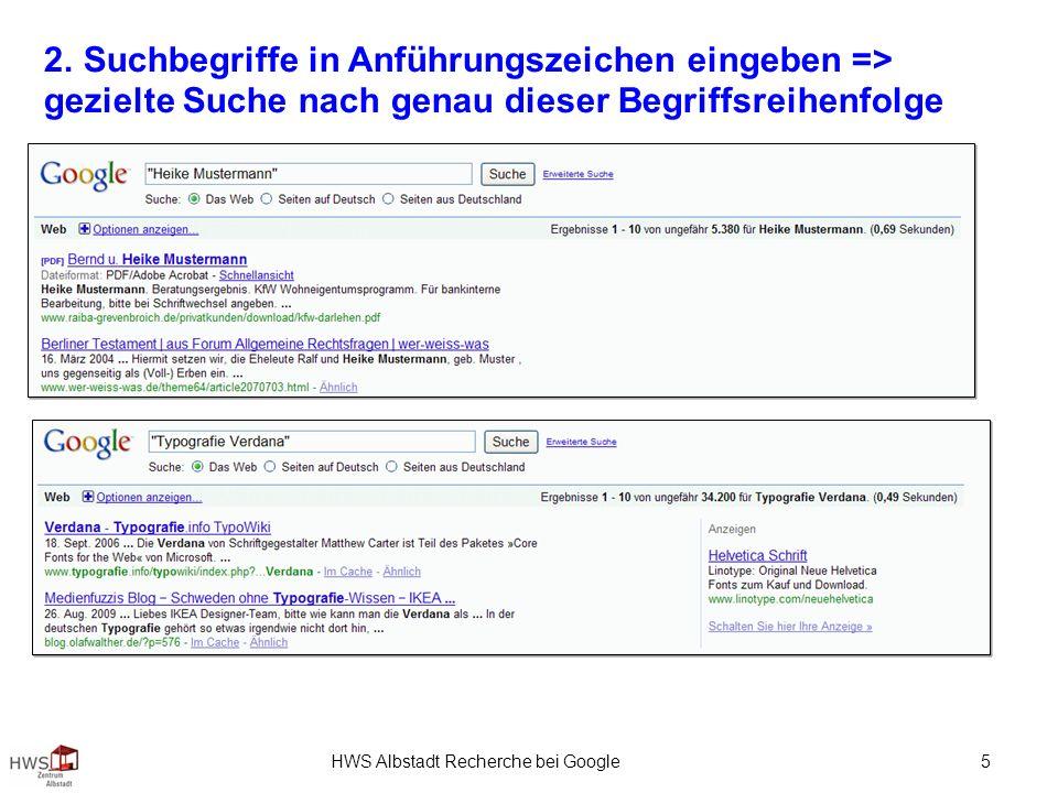 HWS Albstadt Recherche bei Google 5 2.