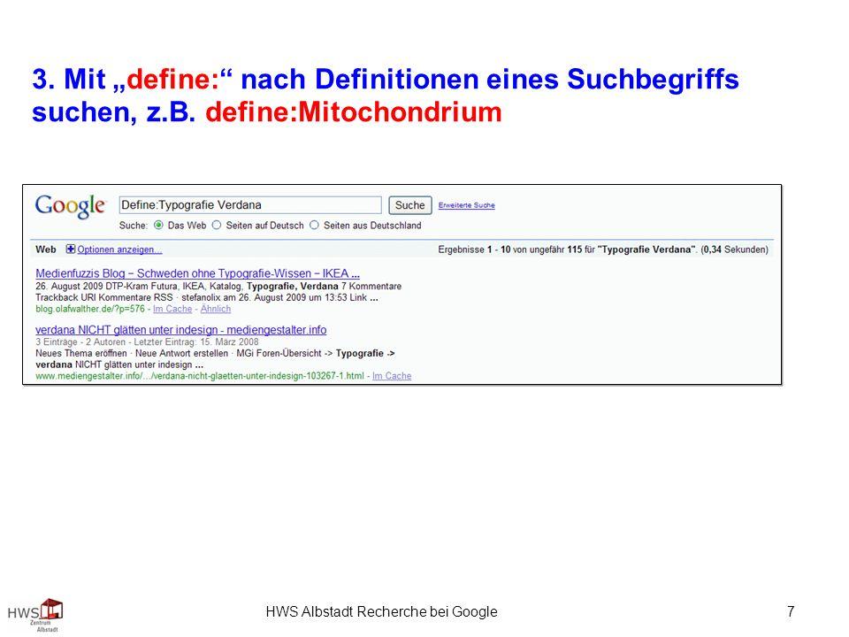 HWS Albstadt Recherche bei Google 7 3.