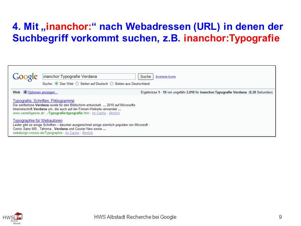 HWS Albstadt Recherche bei Google 9 4.