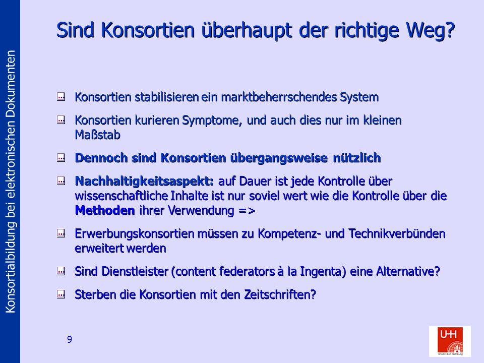 Konsortialbildung bei elektronischen Dokumenten 9 Sind Konsortien überhaupt der richtige Weg.