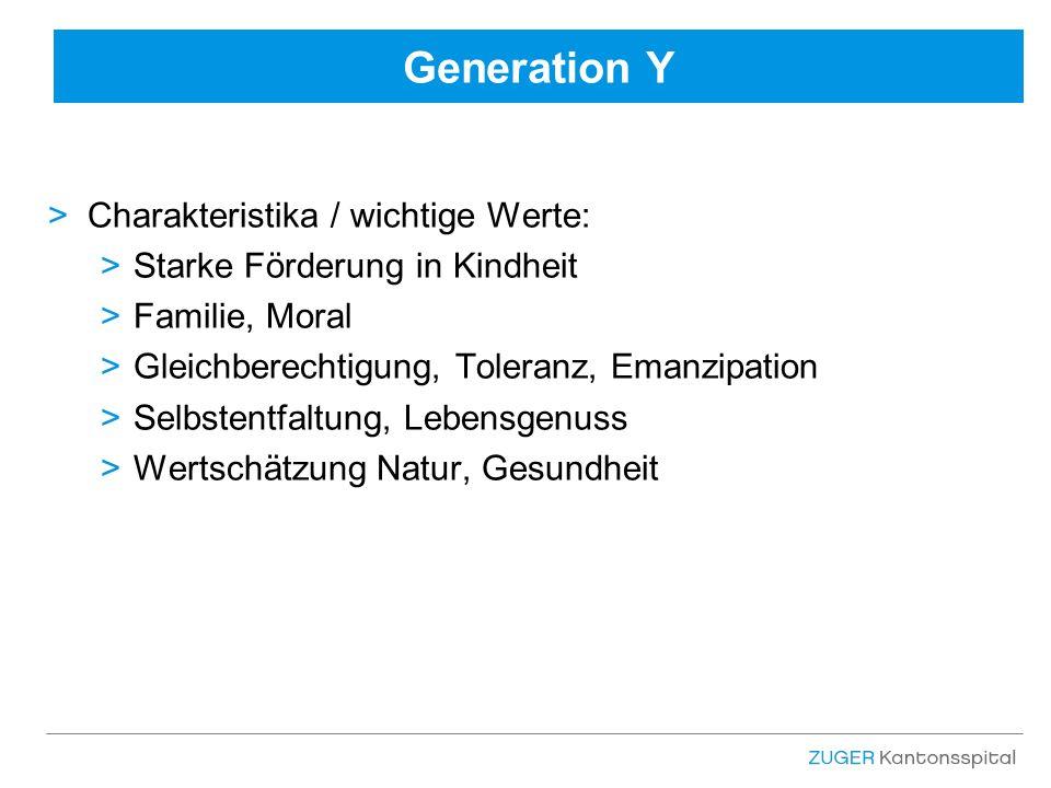 Generation Y >Charakteristika / wichtige Werte: >Starke Förderung in Kindheit >Familie, Moral >Gleichberechtigung, Toleranz, Emanzipation >Selbstentfaltung, Lebensgenuss >Wertschätzung Natur, Gesundheit