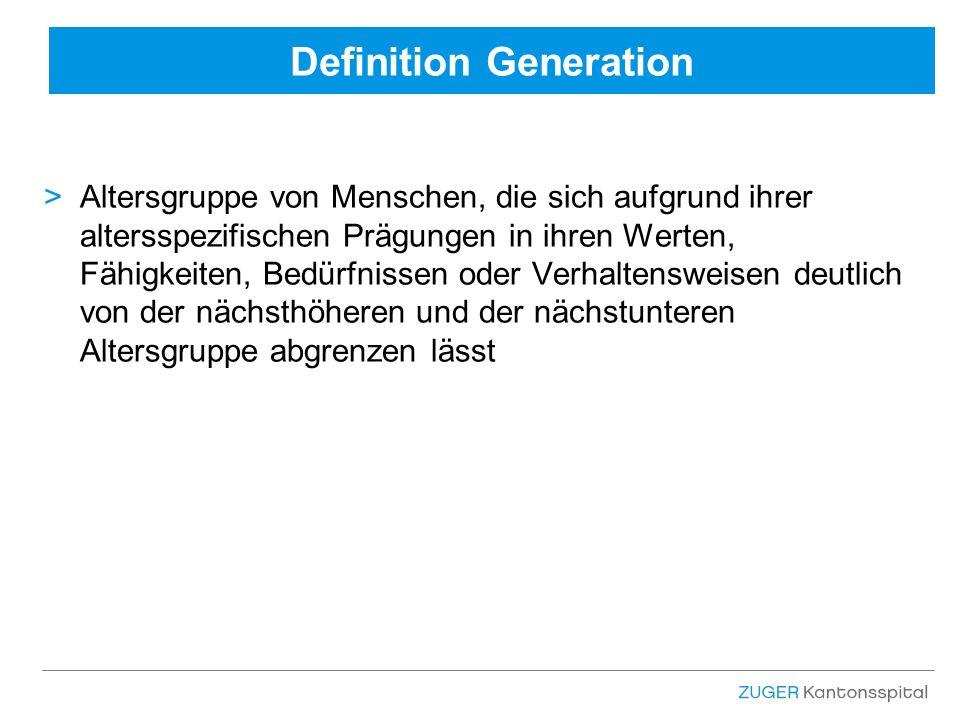 Definition Generation >Altersgruppe von Menschen, die sich aufgrund ihrer altersspezifischen Prägungen in ihren Werten, Fähigkeiten, Bedürfnissen oder Verhaltensweisen deutlich von der nächsthöheren und der nächstunteren Altersgruppe abgrenzen lässt