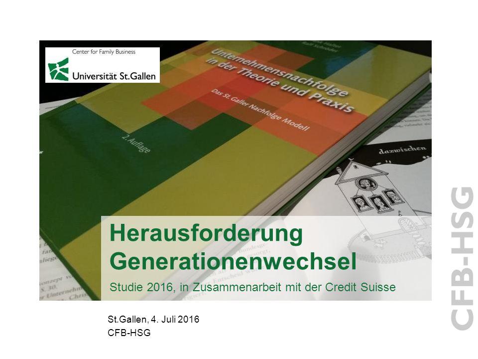 Herausforderung Generationenwechsel Studie 2016, in Zusammenarbeit mit der Credit Suisse St.Gallen, 4.