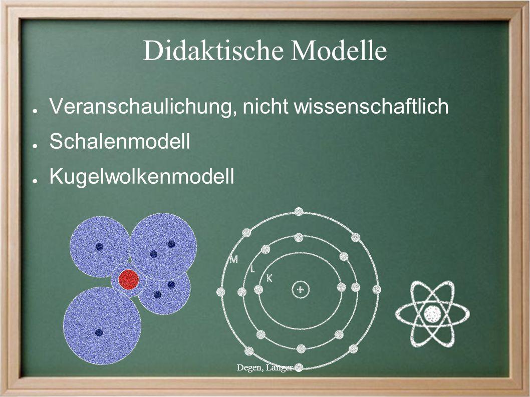 Degen, Langer Didaktische Modelle ● Veranschaulichung, nicht wissenschaftlich ● Schalenmodell ● Kugelwolkenmodell