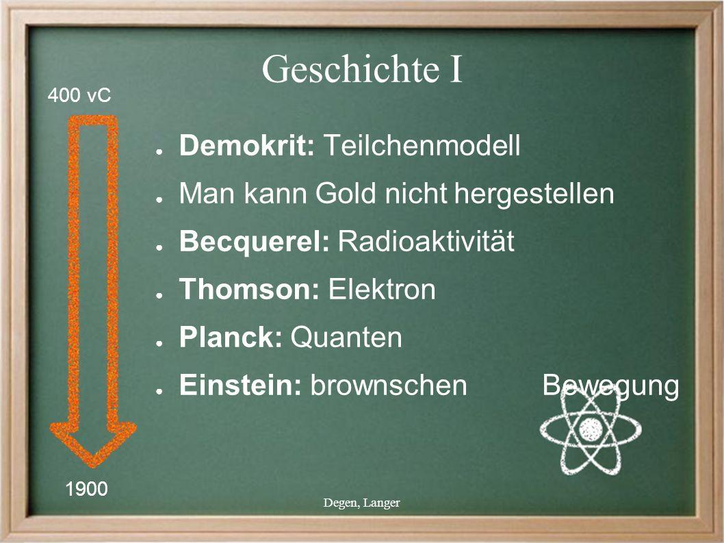 Degen, Langer Geschichte I ● Demokrit: Teilchenmodell ● Man kann Gold nicht hergestellen ● Becquerel: Radioaktivität ● Thomson: Elektron ● Planck: Quanten ● Einstein: brownschen Bewegung 1900 400 vC