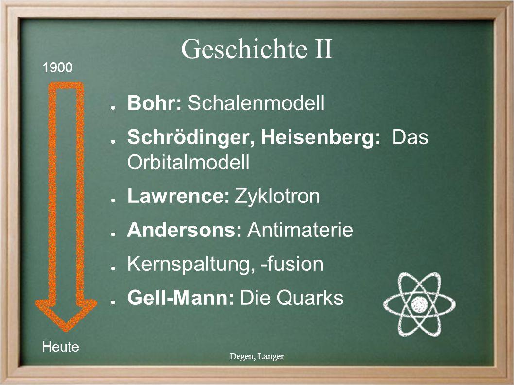 Degen, Langer Geschichte II ● Bohr: Schalenmodell ● Schrödinger, Heisenberg: Das Orbitalmodell ● Lawrence: Zyklotron ● Andersons: Antimaterie ● Kernspaltung, -fusion ● Gell-Mann: Die Quarks Heute 1900