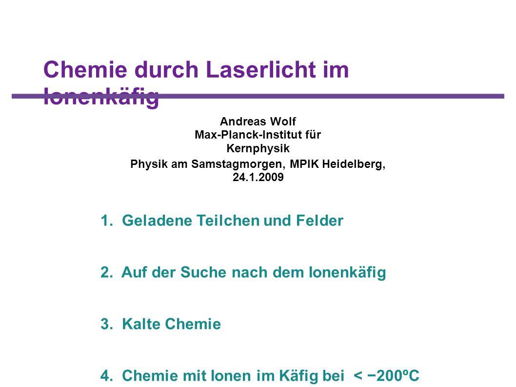 Chemie durch Laserlicht im Ionenkäfig 1. Geladene Teilchen und Felder 2. Auf der Suche nach dem Ionenkäfig 3. Kalte Chemie 4. Chemie mit Ionen im Käfi