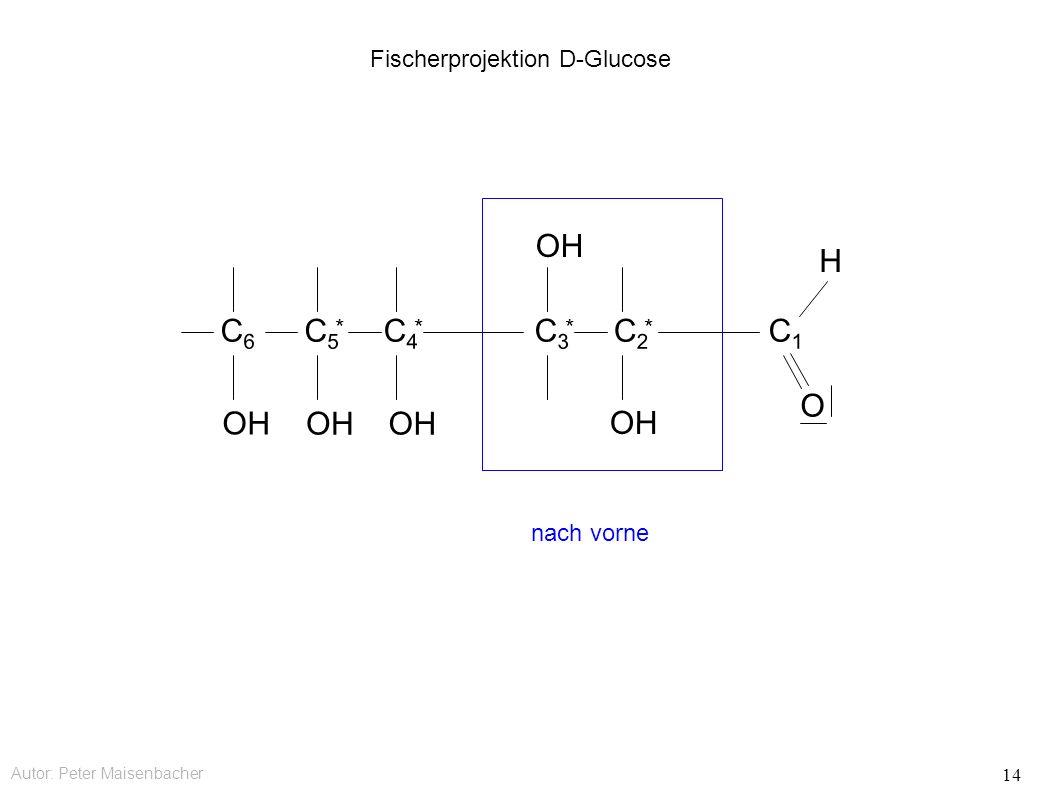 Autor: Peter Maisenbacher 14 Fischerprojektion D-Glucose OH C6C6 C5C5 * C4C4 * C3C3 * C2C2 * C1C1 O H nach vorne