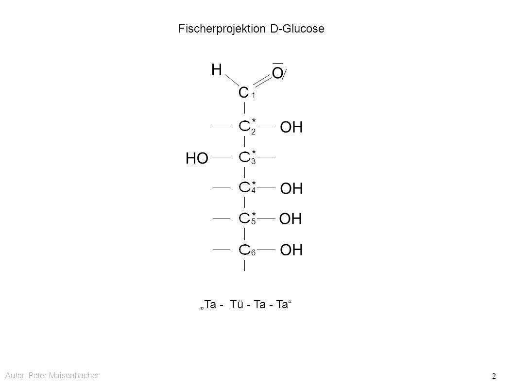 """Autor: Peter Maisenbacher 2 C OH HO OH O H Fischerprojektion D-Glucose * * * * 1 2 3 4 5 6 """"Ta - Tü - Ta - Ta"""