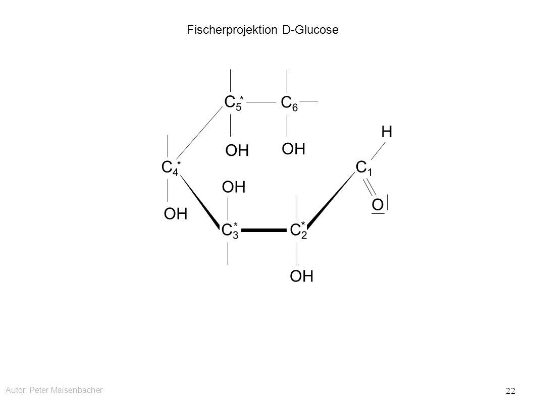 Autor: Peter Maisenbacher 22 Fischerprojektion D-Glucose OH C6C6 C5C5 * C4C4 * C3C3 * C2C2 * C1C1 O H