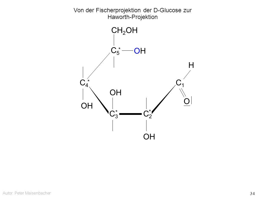 Autor: Peter Maisenbacher 34 OH OHOH CH 2 OH C5C5 * C4C4 * C3C3 * C2C2 * C1C1 O H Von der Fischerprojektion der D-Glucose zur Haworth-Projektion