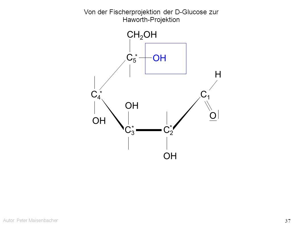 Autor: Peter Maisenbacher 37 OH CH 2 OH C5C5 * C4C4 * C3C3 * C2C2 * C1C1 O H Von der Fischerprojektion der D-Glucose zur Haworth-Projektion