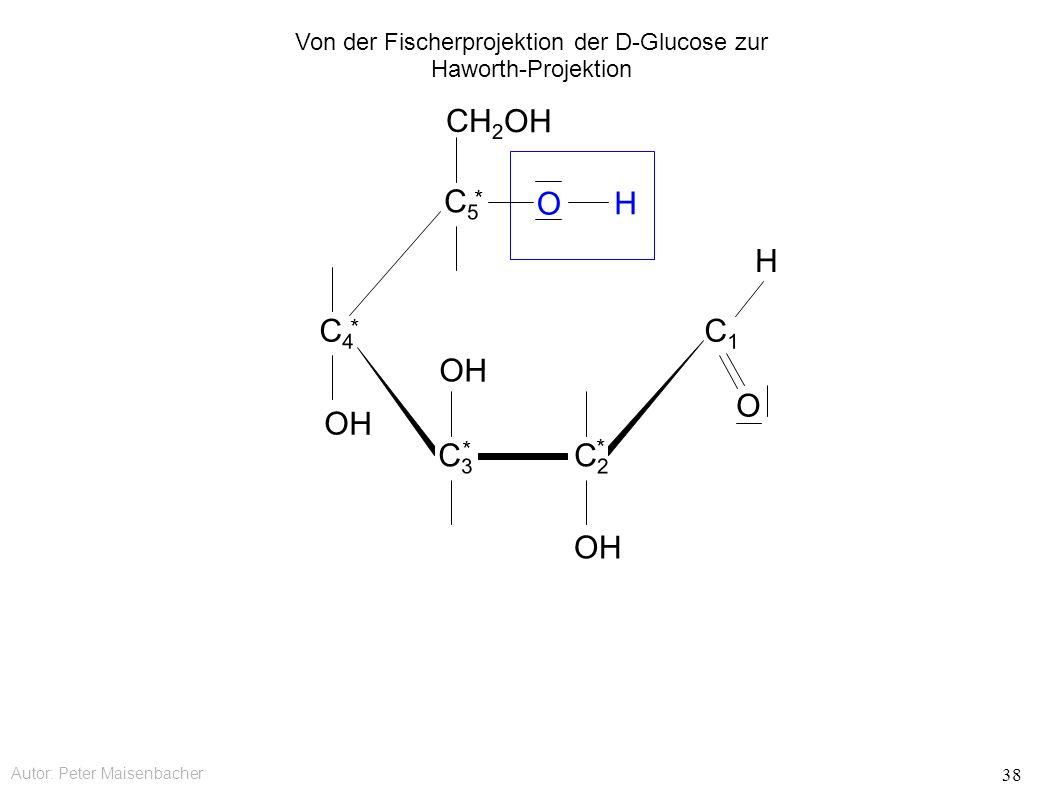 Autor: Peter Maisenbacher 38 OH O CH 2 OH C5C5 * C4C4 * C3C3 * C2C2 * C1C1 O H H Von der Fischerprojektion der D-Glucose zur Haworth-Projektion