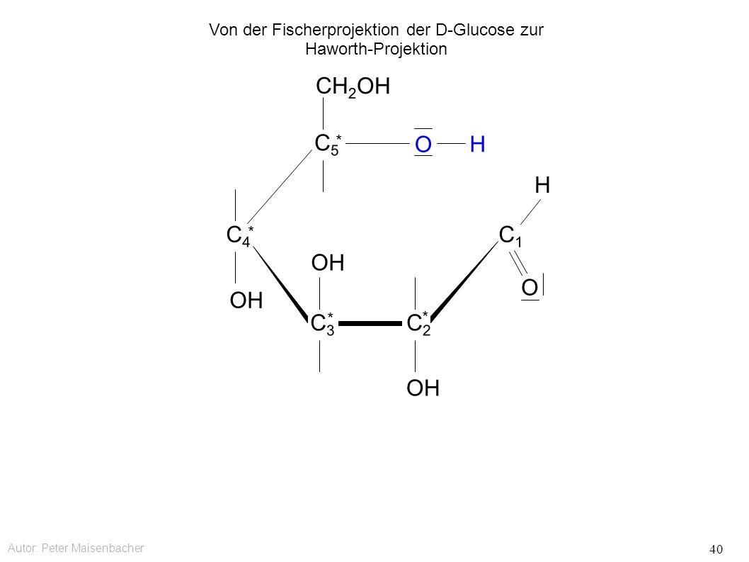 Autor: Peter Maisenbacher 40 OH O CH 2 OH C5C5 * C4C4 * C3C3 * C2C2 * C1C1 O H H Von der Fischerprojektion der D-Glucose zur Haworth-Projektion