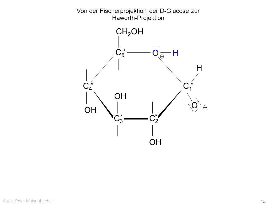 Autor: Peter Maisenbacher 45 OH O CH 2 OH C5C5 * C4C4 * C3C3 * C2C2 * C1C1 * O H H Von der Fischerprojektion der D-Glucose zur Haworth-Projektion