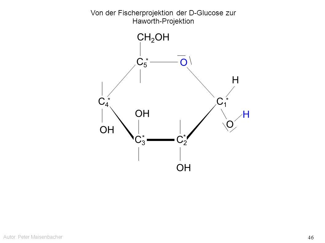 Autor: Peter Maisenbacher 46 OH O CH 2 OH C5C5 * C4C4 * C3C3 * C2C2 * C1C1 * O H H Von der Fischerprojektion der D-Glucose zur Haworth-Projektion