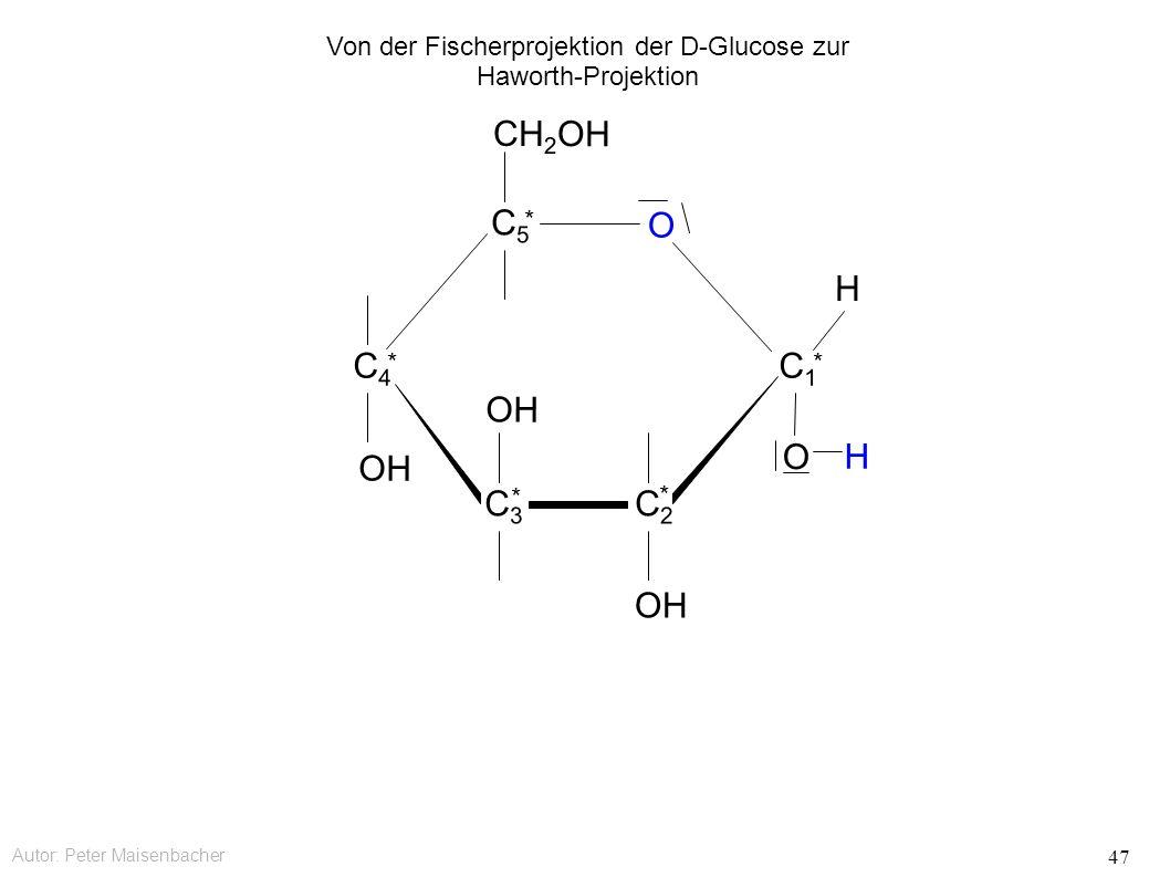 Autor: Peter Maisenbacher 47 OH O CH 2 OH C5C5 * C4C4 * C3C3 * C2C2 * C1C1 * O H H Von der Fischerprojektion der D-Glucose zur Haworth-Projektion
