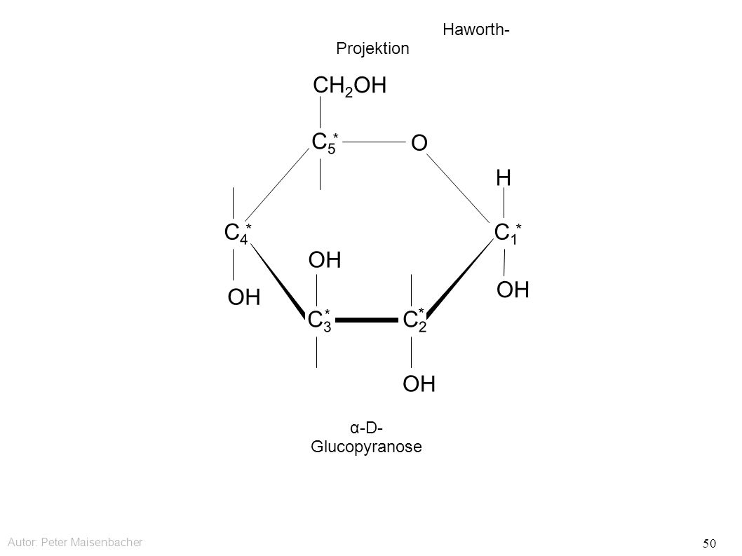 Autor: Peter Maisenbacher 50 OH O CH 2 OH C5C5 * C4C4 * C3C3 * C2C2 * C1C1 * OHOH H Haworth- Projektion α-D- Glucopyranose